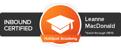 Hub Spot Inbound Marketing Certified Leanne MacDonald JUPA Consulting