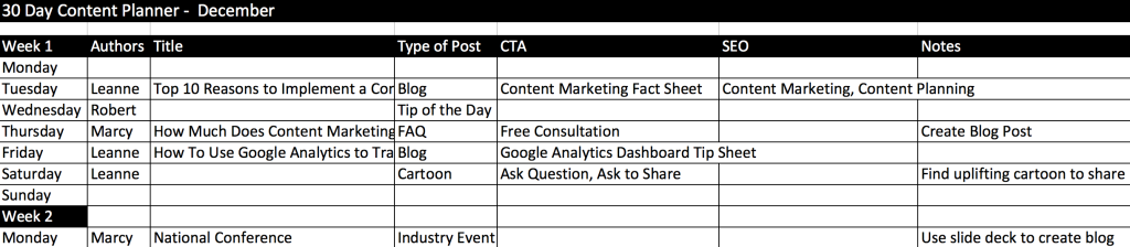 30 Day Content Planning